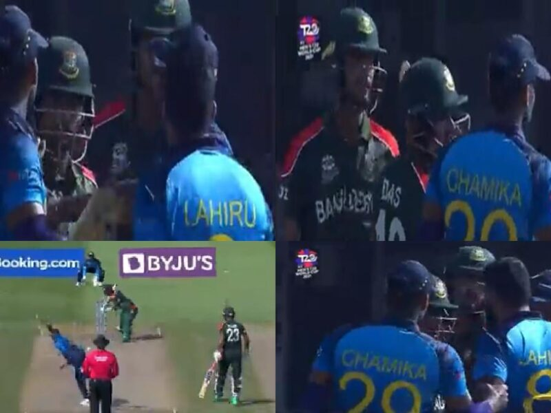 Liton Das Lahiru Kumara Fighting Video-T20 WC 2021-SL vs BAN